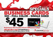 $45 Business Cards - CALGARY