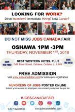 OSHAWA JOB FAIR - NOVEMBER 1ST, 2018
