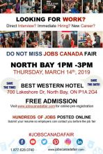 FREE: North Bay Job Fair – March 14th, 2019