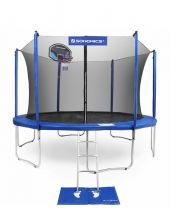 15 foot fully enclosed trampoline with ladder and basketball net