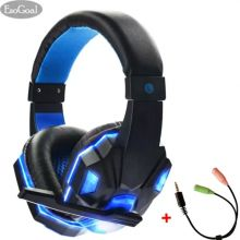 EsoGoal Wired Gaming Headset Head-Mounted Luminous Earbuds With Microphone and Audio Line
